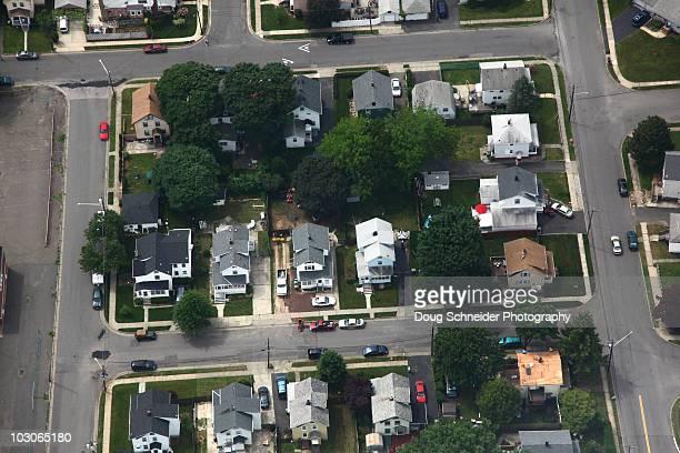 working class neighborhood aerial - new jersey stock-fotos und bilder