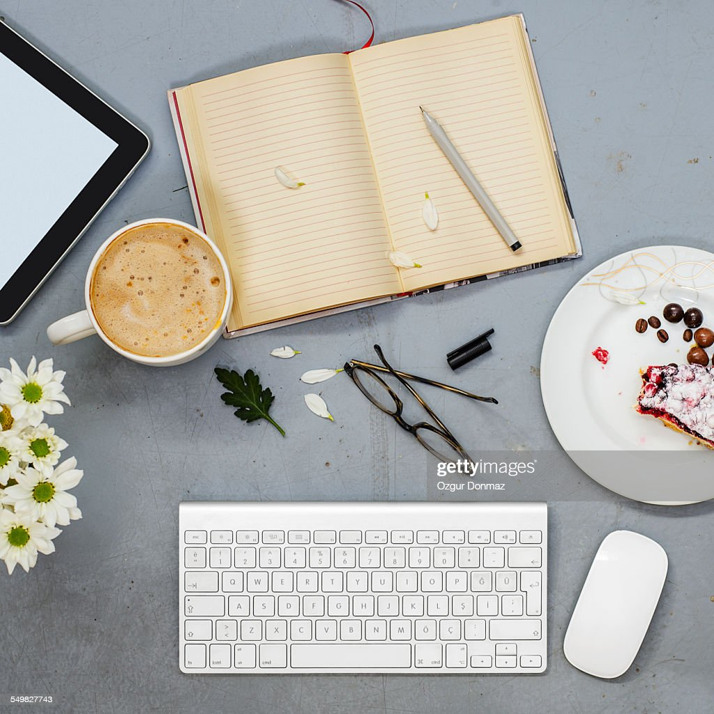 Working desk with objects : Stock Photo
