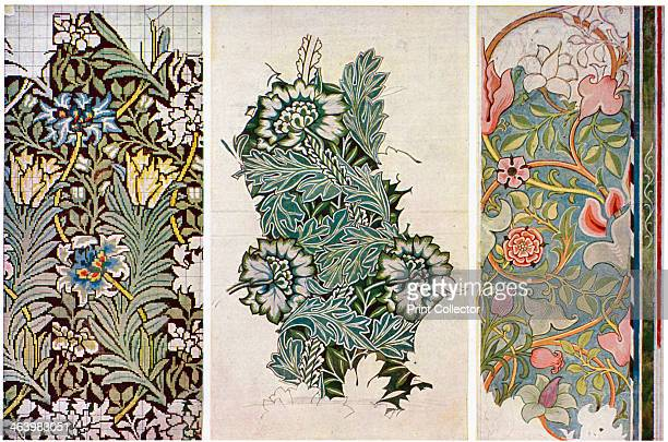 Working drawings by William Morris 1934 Axminster carpet 1873 'Anemone' pattern for silk and wool curtain material 1874 and a painted wall decoration...
