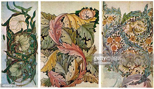 Working drawings by William Morris 1934 'Pimpernel' pattern wallpaper c1873 'Acanthus' pattern wallpaper c1873 and 'African Marigold' pattern cotton...