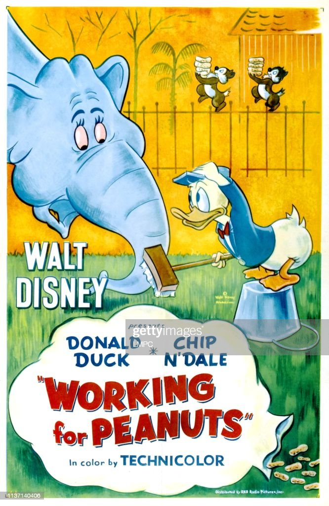 Working for Peanuts FRIDGE MAGNET movie poster donald duck chip dale