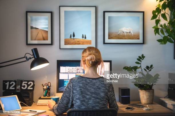 working from home - home interior stock pictures, royalty-free photos & images