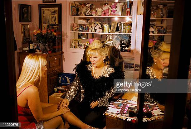 Working girl talking to Madame Suzette, the manager of the Moonlite Bunny Ranch, a legal brothel owned by Dennis Hof, in Lyon County, one of the fews...