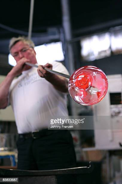 Working glass-blower Smaland Sweden.
