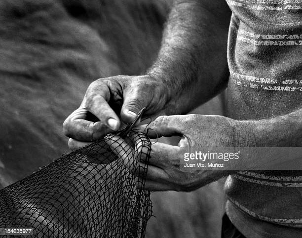 Working Hands Fisherman Black and White