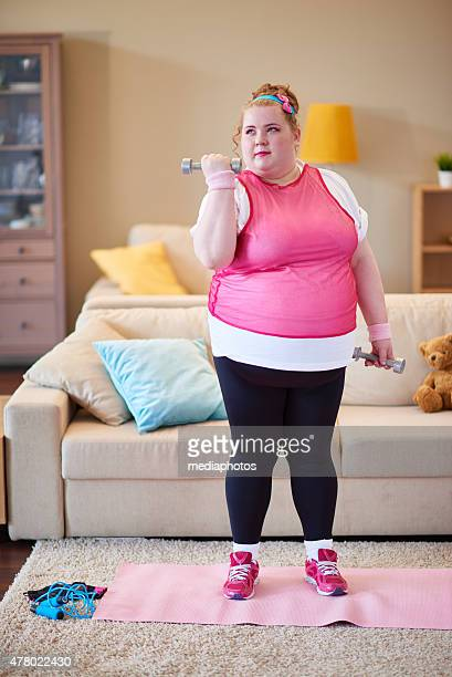 working hard to get fit - fat woman funny stock photos and pictures