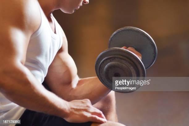 Working his biceps