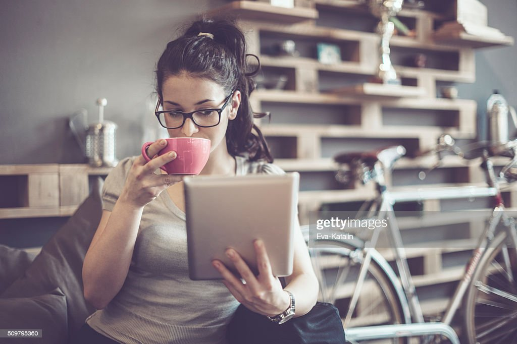 Working in a café : Stock Photo