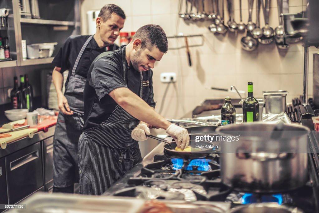 Working in an italian restaurant : Stock Photo