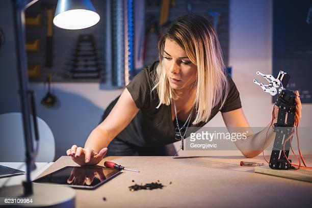 Working in robotics workshop