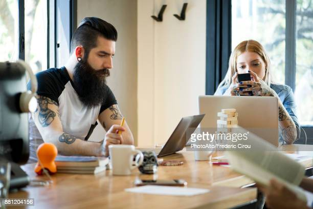 Working in shared casual office