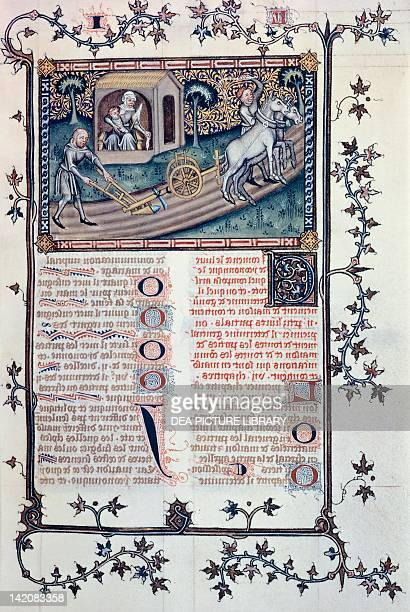 Working in the fields miniature from Aristotle's Politics manuscript translated into French by Nicola di Oresme manuscript 1201 folio 363 verso and...