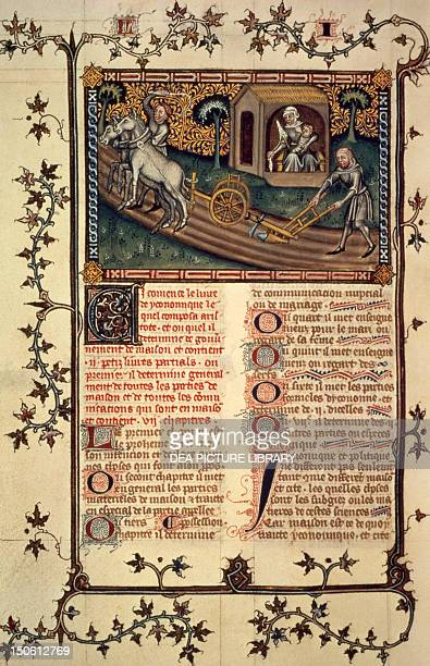 Working in the fields miniature from Aristotle's Politics manuscript translated into French by Nicola di Oresme France
