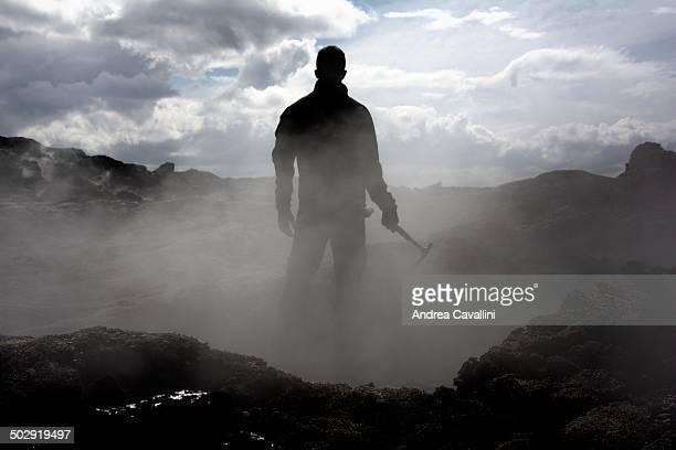 Working in the lava fields - iceland