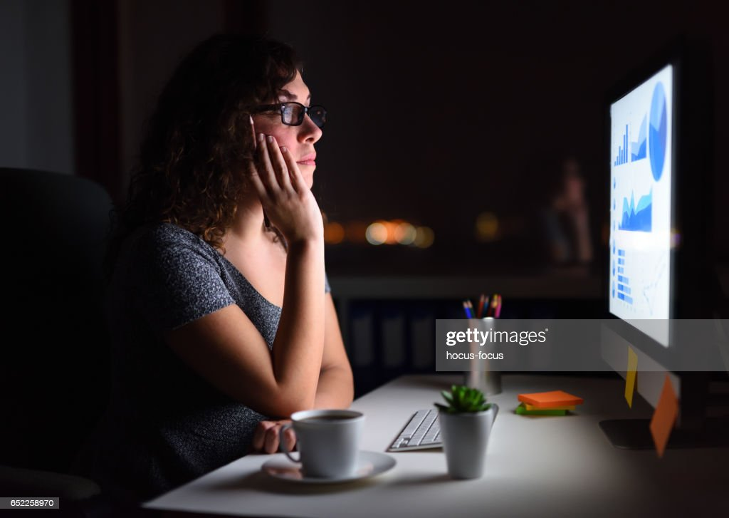 Working late at office : Stock Photo