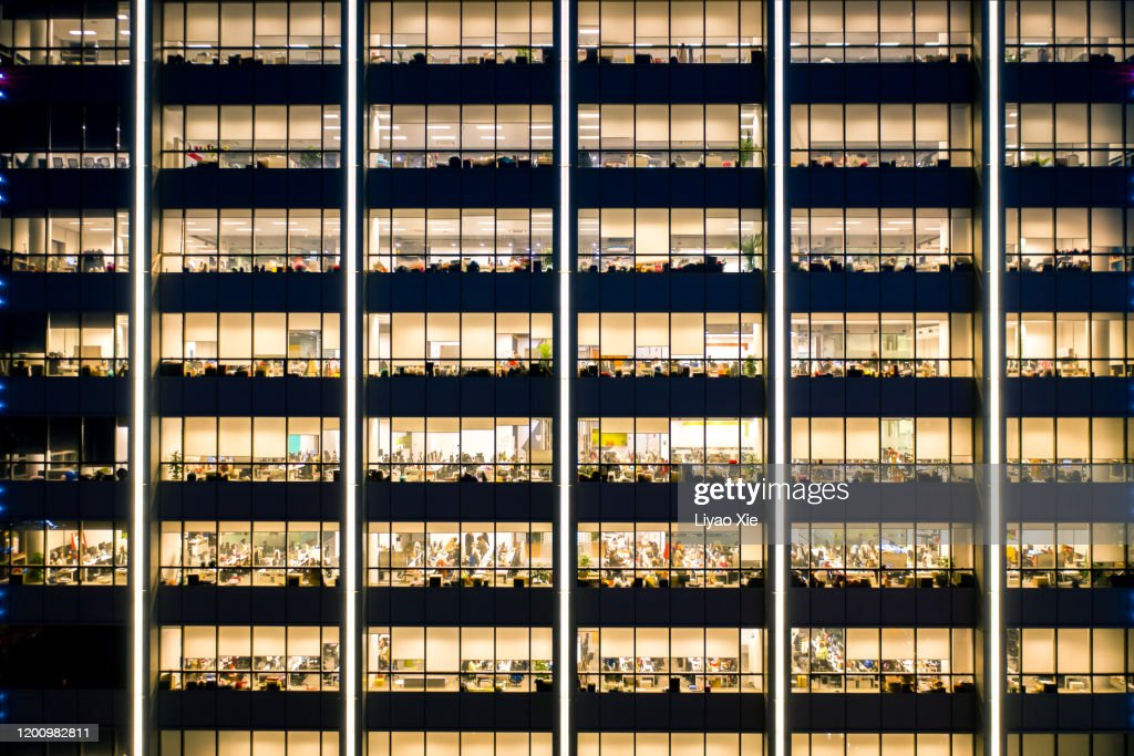 Working late in the office : Stock Photo