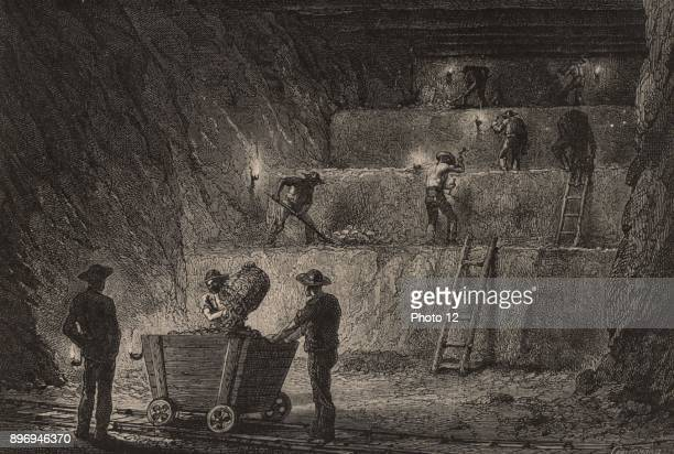 Working metal deposits at Stolberg Prussia Germany in direct or descending steps The miners are working by the light of oil lamps with naked flames...