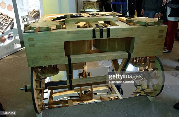 A working model of Leonardo Da Vinci's car is seen on display April 23 2004 at the Museum of the History of Science in Florence Italy This model...