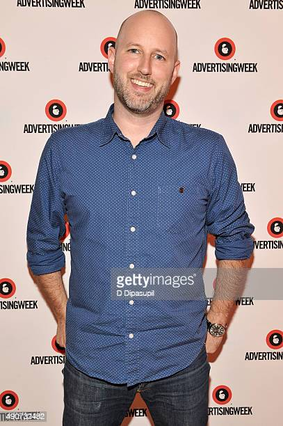 Working Not Working Cofounder Justin Gignac poses at the Redefining Talent panel during Advertising Week 2015 AWXII at the Times Center Stage on...
