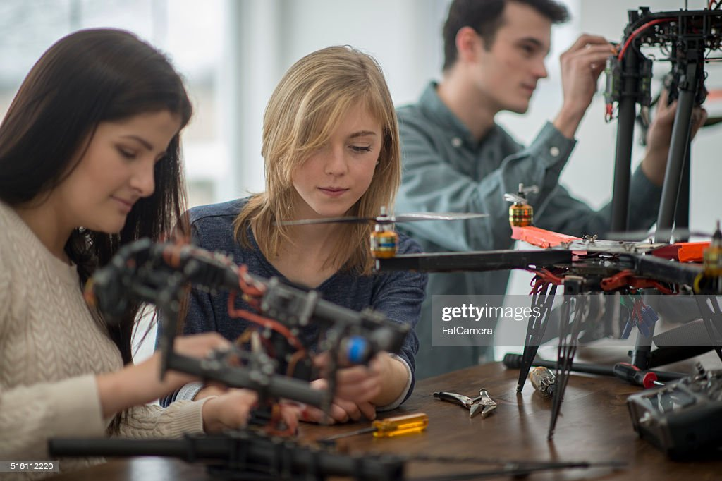 Working on a Mechanical Drone Project : Stock Photo