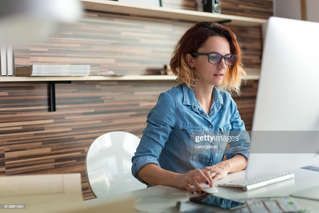 Working on a pc : Stock Photo