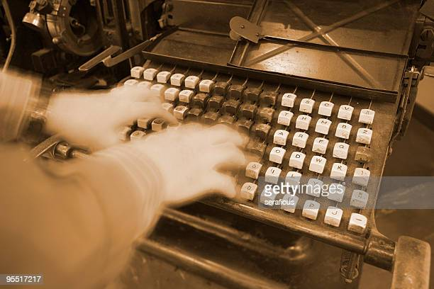 working on an old linotype - industrial revolution stock pictures, royalty-free photos & images