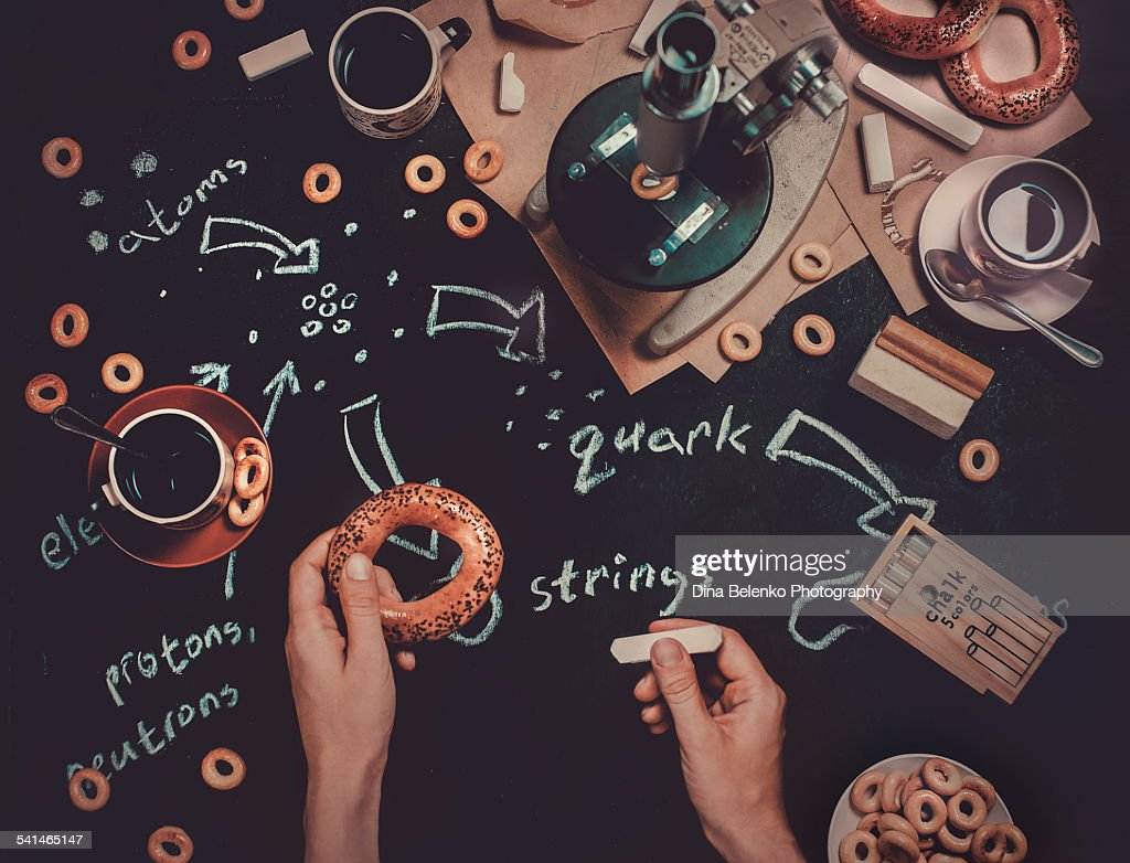 Working on string theory : Stock Photo