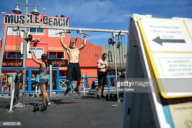 Working out at Muscle Beach in Venice Beach