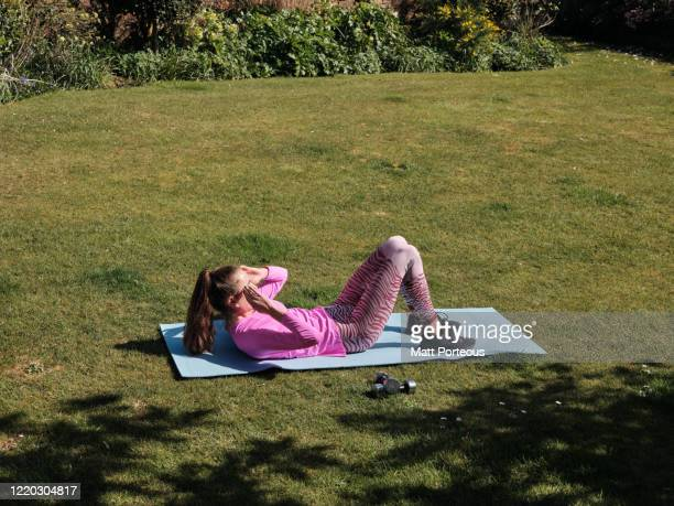working out in the garden - gym stock pictures, royalty-free photos & images