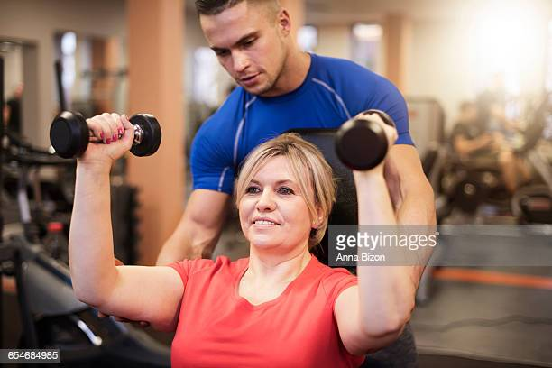 Working out with a personal trainer. Debica, Poland