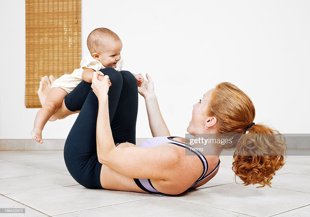 Working out with mom : Stock Photo