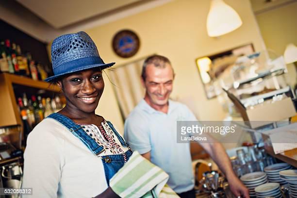 Working people in coffee shop