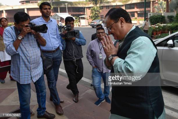 BJP working president JP Nadda arrives during the winter session of Parliament on November 20 2019 in New Delhi India The Rajya Sabha discussed the...