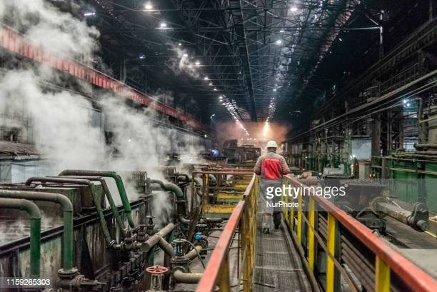 Working process at the Zaporizhstal steel plant owned and operated by Metinvest the largest private company of Ukraine Zaporizhia Ukraine on August 2...