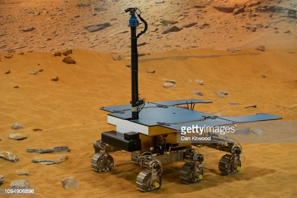 A working prototype of the ExoMars rover at the Airbus Defense Space facility on February 7 2019 in Stevenage England The craft has been named after...