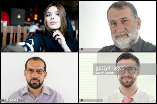 working screen of video conference with colleagues - video conference stock pictures, royalty-free photos & images
