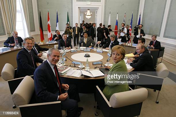 Working session of the G8 Heads of States and familly photo In Heiligendamm Germany On June 07 2007Tony Blair George W Bush and Angela Merkel
