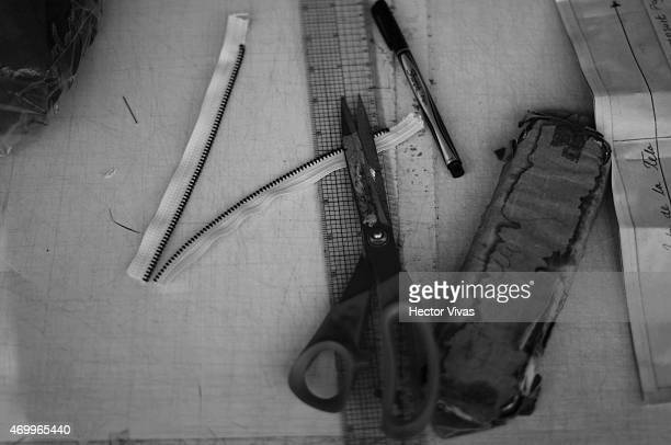 Working tools at the atelier of Simple by Trista fashion design brand previous to the presentation of the Show as part of MercedesBenz Fashion Week...