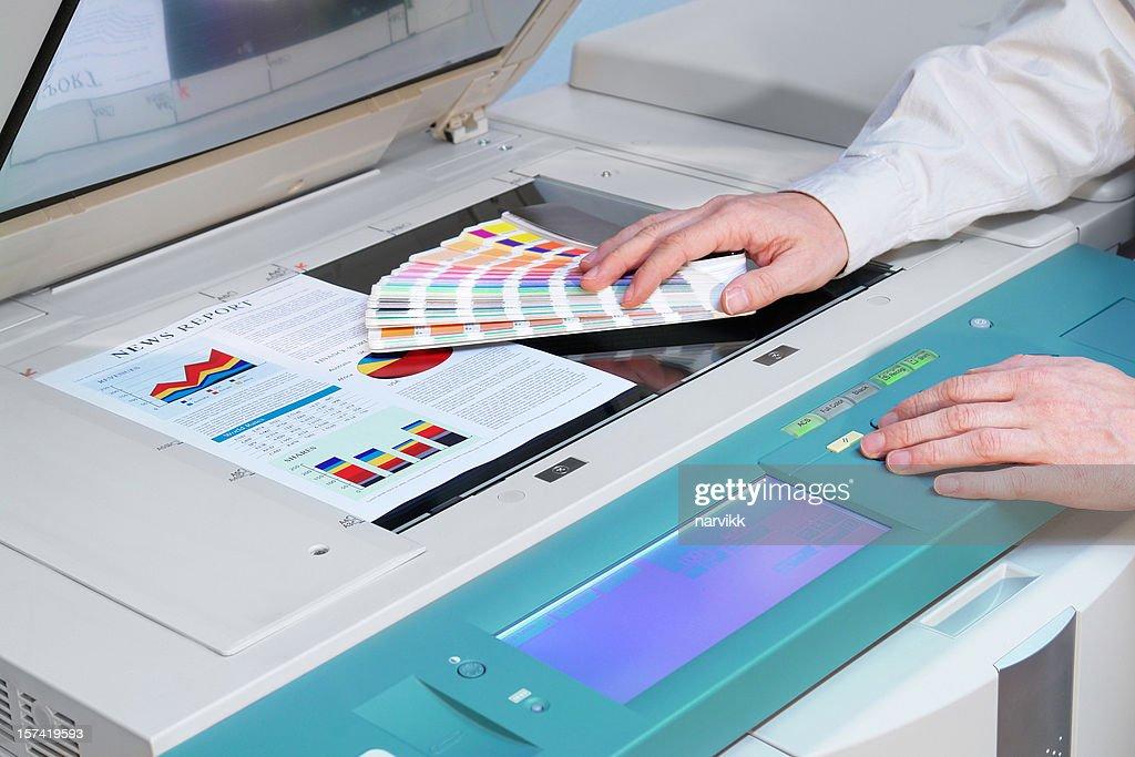 Working with Photocopier Machine : Stock Photo