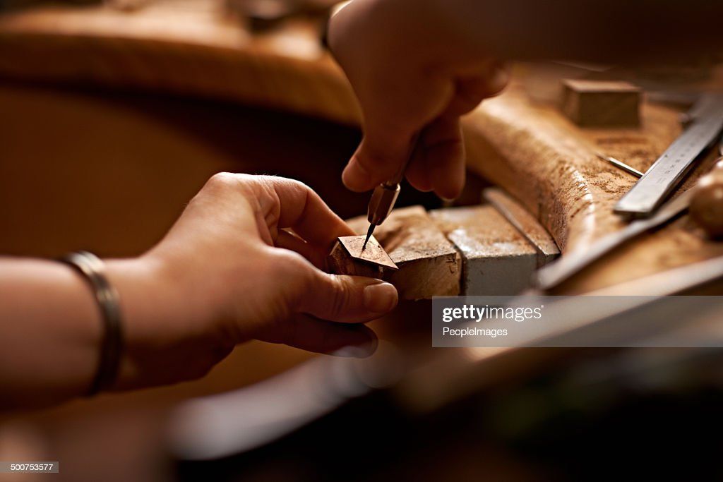 Working with your hands is the purest art form : Stock Photo