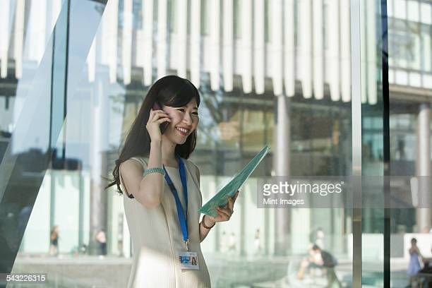 A working woman in an office building.