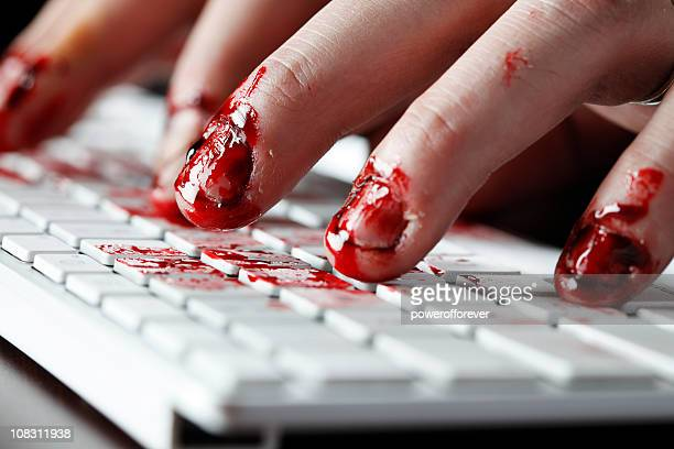 working your fingers to the bone - bloody gore stock pictures, royalty-free photos & images