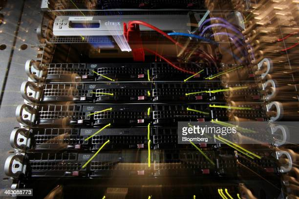 Workings servers stand inside pod one of International Business Machines Corp's Softlayer data center in Dallas Texas US on Thursday Jan 16 2014 IBM...