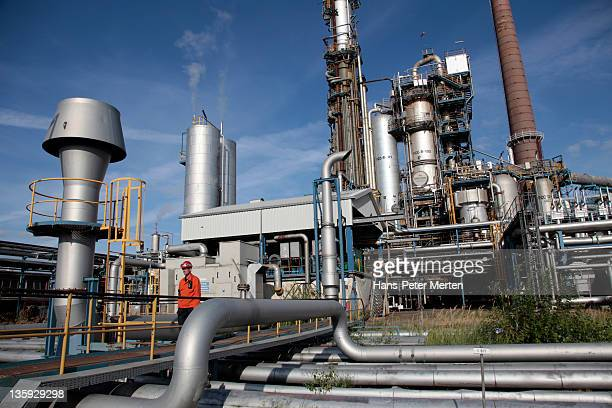 Workman at oil refinery