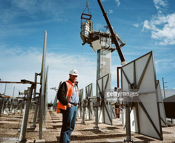 Workman at solar thermal research facility