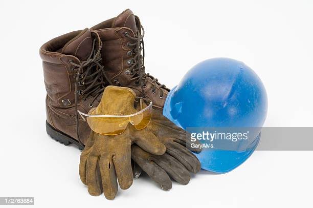 workman's leather boots,gloves,hard hat,safety glasses-isolated on white - work glove stock photos and pictures