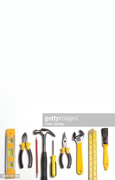 workman's tools with copy space - order stock pictures, royalty-free photos & images
