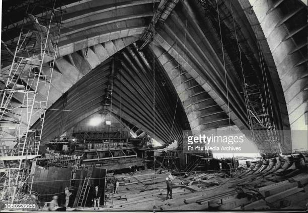 Workmen appear as ants in the Concert Hall Sydney Opera HouseThe Concert hall is the largest hall ***** Opera House and will seat January 01 1969