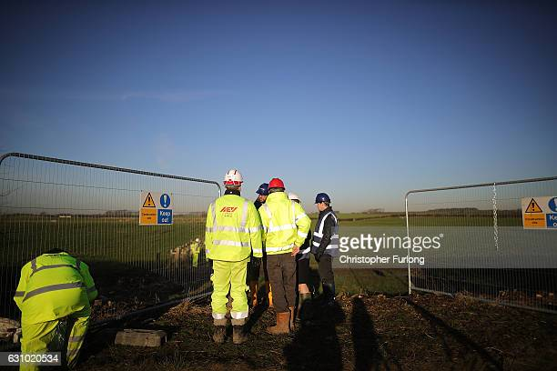 Workmen begin the construction of the shale gas fracking site near Westby on January 5 2017 in Blackpool England Engineers from energey company...