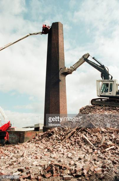 Workmen busy knocking down the chimney at the old Tram Generating House in Boathouse Lane Stockton 21st April 1995 Stockton last link with the trams